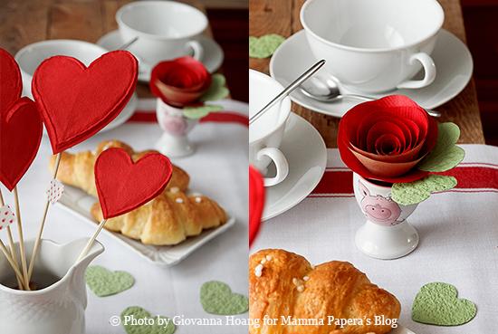 Decorazioni per la tavola di san valentino rose di carta fai da te con tutorial mamma papera - Idee tavola san valentino ...