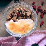 Yogurt brulee con muesli, bacche di goji e scaglie di cioccolato