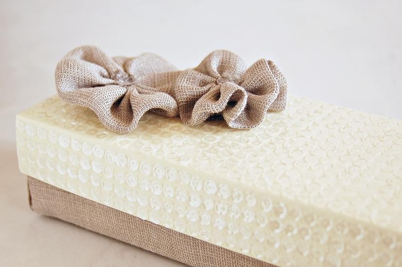 Scatola paillettes e tessuto mamma papera for Foderare una scatola